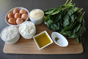 Ingredients for savory pie from liguria