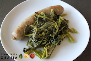 sausages with rapini done