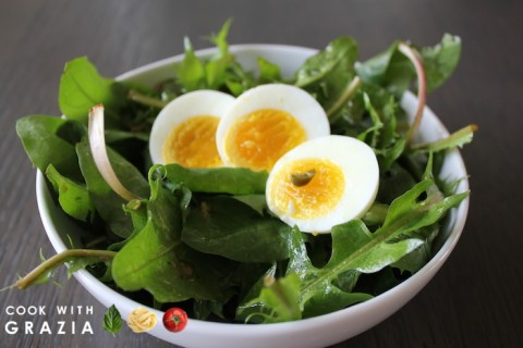 dandelion caper salad