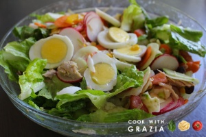 summer salad and eggs