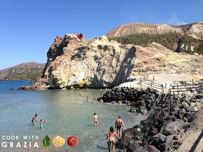 Vulcano island mud bath beach