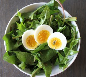 salad with dandelions capers eggs