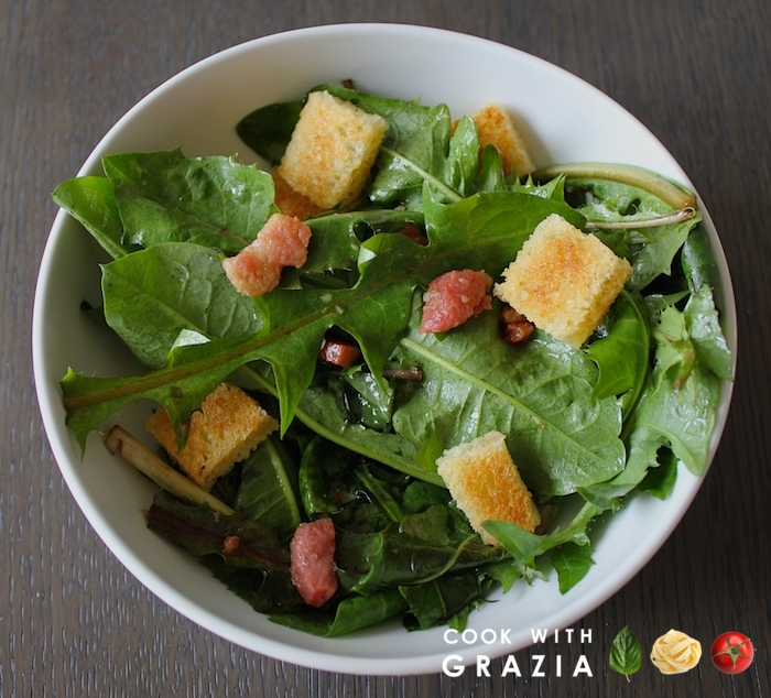 pancetta dandelion salad