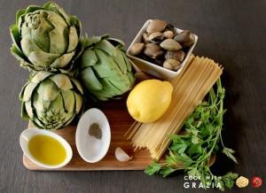 ingredienti pasta carciofi vongole