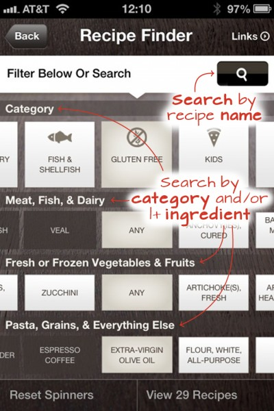 Recipe finder for iOS Cook with Grazia App